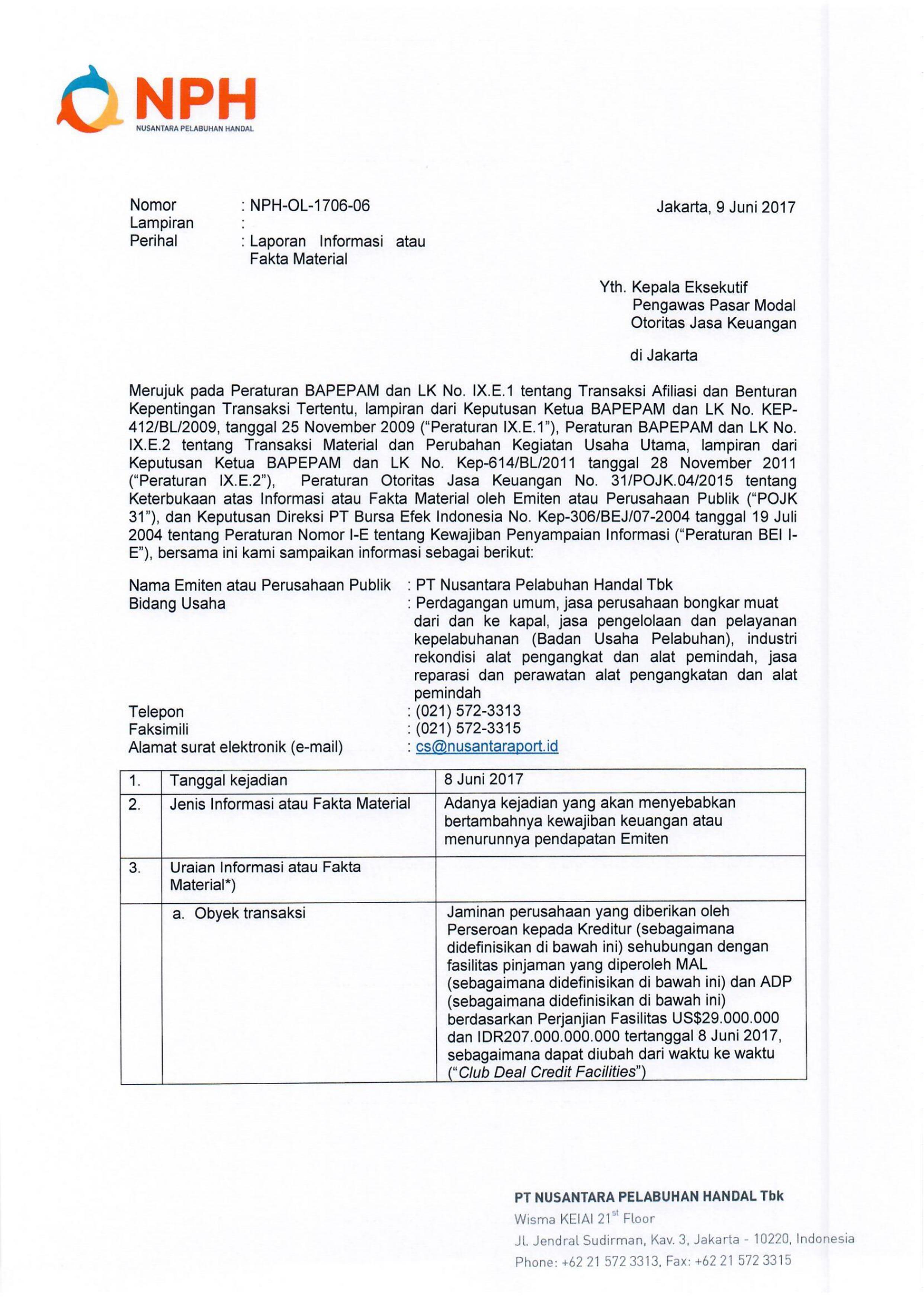 Info Memo - Perjanjian Fasilitas sebesar USD 29,000,000.00 dan Rp 207.000.000.000 tanggal 8 Juni 2017