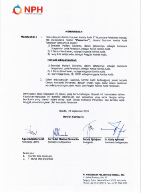 Keterbukaan Informasi Mengenai Surat Keputusan Dewan Komisaris Tentang Perubahan Komite Audit