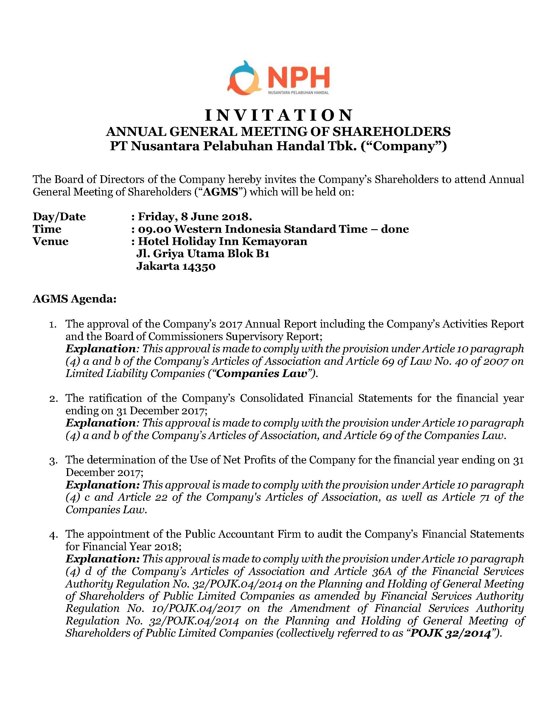 INVITATION ANNUAL GENERAL MEETING OF SHAREHOLDERS