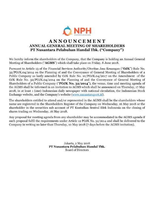 ANNOUNCEMENT ANNUAL GENERAL MEETING OF SHAREHOLDERS